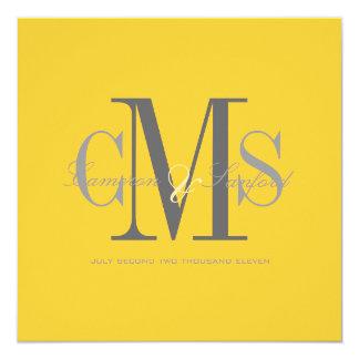 Contemporary + classy/yellow + grey 13 cm x 13 cm square invitation card