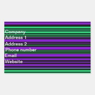 Contemporary dark purple green and black stripes rectangular sticker