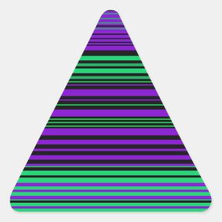 Contemporary dark purple green and black stripes triangle sticker