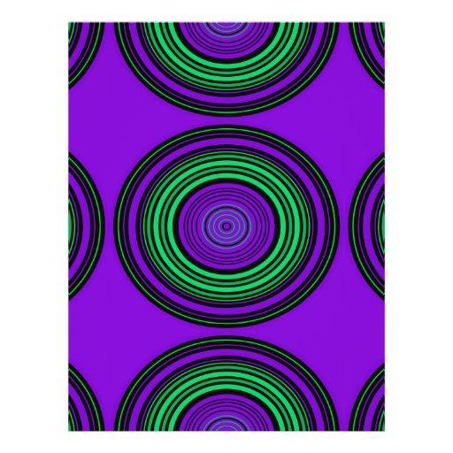 Contemporary dark purple green circles full color flyer