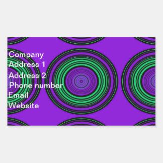 Contemporary dark purple green circles rectangle sticker