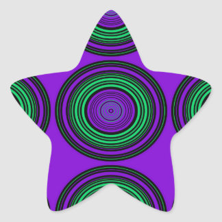 Contemporary dark purple green circles stickers