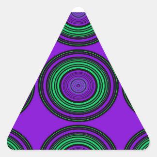 Contemporary dark purple green circles triangle sticker