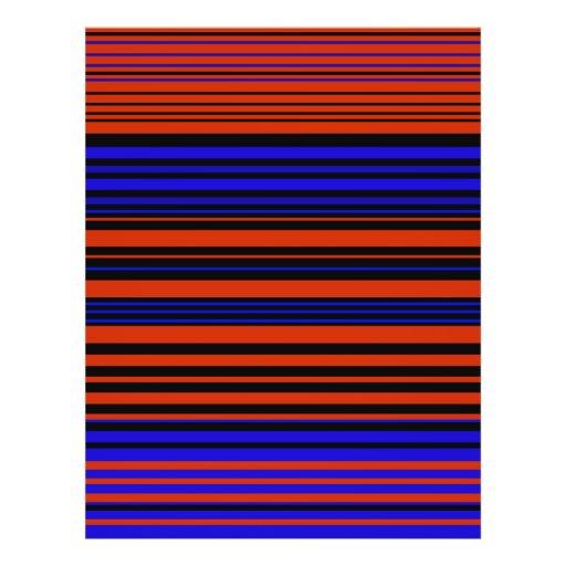 Contemporary dark red blue and black stripes custom flyer