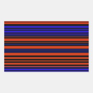 Contemporary dark red blue and black stripes rectangular sticker