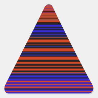 Contemporary dark red blue and black stripes triangle sticker