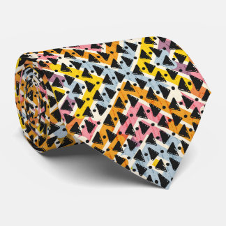 Contemporary diamond shaped blue pink black tie