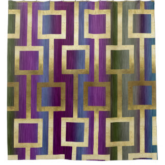 Contemporary Elegant Gold Blue Green Purple Shower Curtain