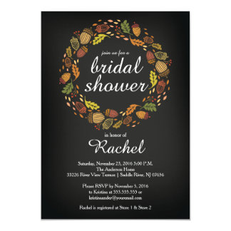 Contemporary Fall Wreath Bridal Shower Card