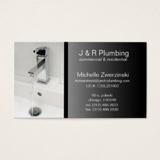 contemporary faucet plumbing business card