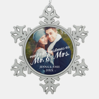 Contemporary First Christmas Mr. & Mrs. Photo Snowflake Pewter Christmas Ornament