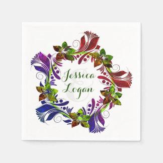 Contemporary Floral Wreath Wedding Napkin Paper Napkins