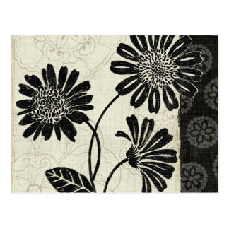 Contemporary Florals in Black and White Postcard