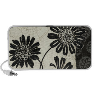 Contemporary Florals in Black and White Portable Speakers