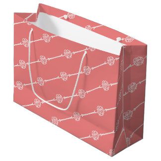 Contemporary Fusion Coral Rose Stripe Large Gift Bag