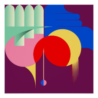 Contemporary geometric art poster in bold colours