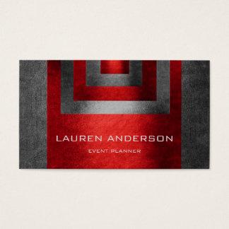 Contemporary Geometric Gray Metallic Red Vip Business Card