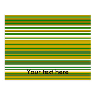 Contemporary gold and green stripes postcard