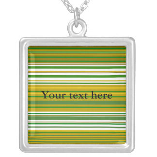 Contemporary gold and green stripes square pendant necklace