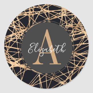 Contemporary Gold & Black Abstract Monogrammed Classic Round Sticker