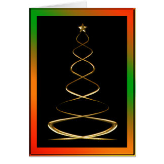 Contemporary Gold Christmas Tree Card