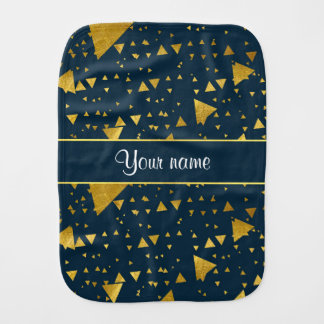 Contemporary Gold Triangles on Navy Blue Baby Burp Cloth