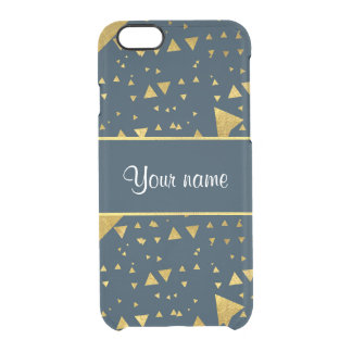 Contemporary Gold Triangles on Navy Blue Clear iPhone 6/6S Case
