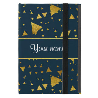 Contemporary Gold Triangles on Navy Blue Cover For iPad Mini