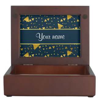 Contemporary Gold Triangles on Navy Blue Memory Boxes