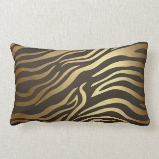 Contemporary Golden Black Zebra Safari Skin Lumbar Cushion