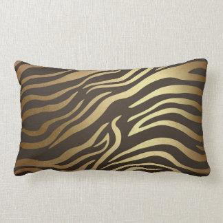 Contemporary Golden Black Zebra Safari Skin Lumbar Pillow