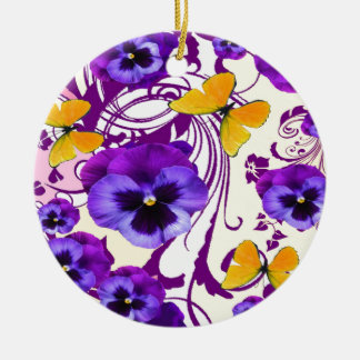 CONTEMPORARY GOLDEN BUTTERFLIES & PURPLE PANSY CERAMIC ORNAMENT