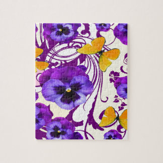 CONTEMPORARY GOLDEN BUTTERFLIES & PURPLE PANSY JIGSAW PUZZLE
