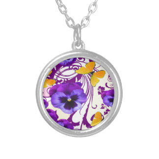 CONTEMPORARY GOLDEN BUTTERFLIES & PURPLE PANSY SILVER PLATED NECKLACE