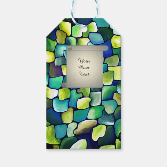 Contemporary Green Pattern - papyrus text Gift Tags