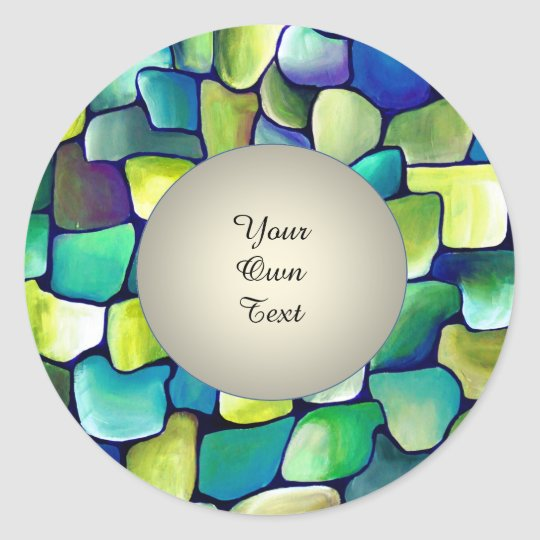 Contemporary Green Pattern - Pearl Circle  Text Classic Round Sticker