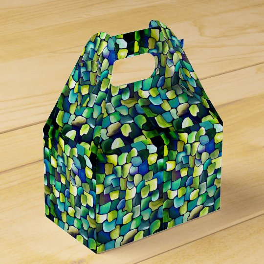Contemporary Green Pattern Wedding Favour Boxes