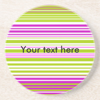 Contemporary green white and pink stripes drink coasters