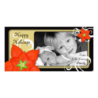 Contemporary Holiday Poinsettia Card