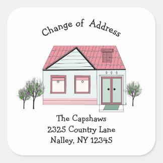 Contemporary House New Address Square Sticker