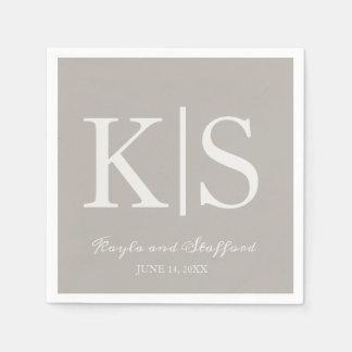 Contemporary Initials Wedding Napkins Disposable Serviette