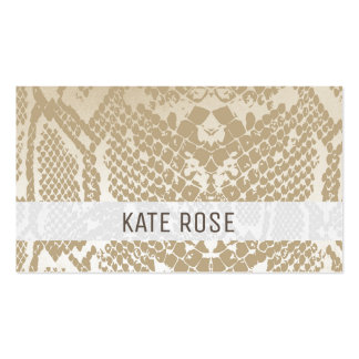Contemporary Ivory Monochromatic Python Skin Pack Of Standard Business Cards