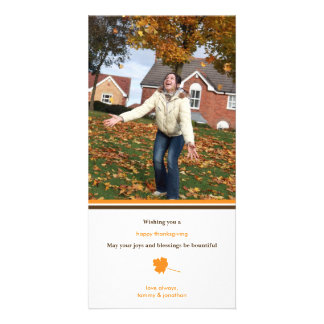 Contemporary leaf Thanksgiving photo greeting Photo Cards