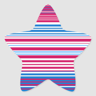 Contemporary light blue pink and white stripes star sticker