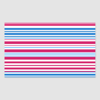 Contemporary light blue pink and white stripes rectangular stickers