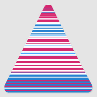 Contemporary light blue pink and white stripes triangle sticker