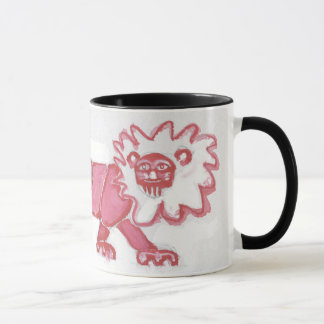 contemporary lion pace coffee mug bold red black