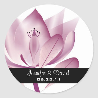 Contemporary Magnolia Wedding Favor Sticker