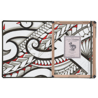 Contemporary Maori tribal design with red accents