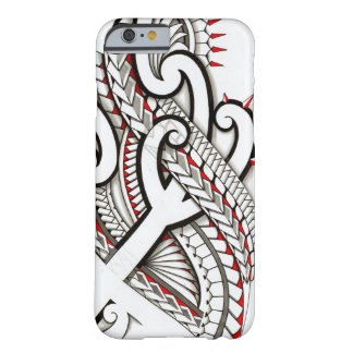 Contemporary Maori tribal design with red accents Barely There iPhone 6 Case